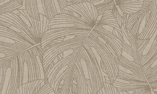 Papel para habitaciones con hojas tropicales en color marrón