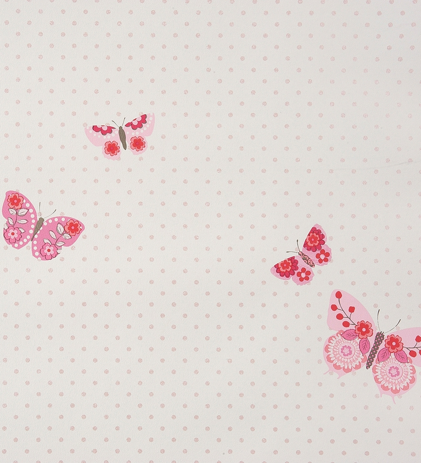 Papel Pintado Para Ni 241 As Con Mariposas Rosas Fondo Topitos