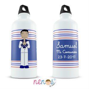 Regalo Personalizado Botella Termo Personalizada niño de comunión en fondo con rayas azul