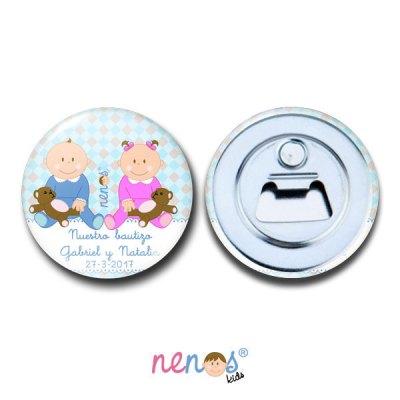 Imán Abrebotellas Personalizado Bebés Hermanos Niño y Niña