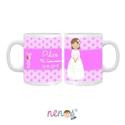 Taza personalizada niña de comunión en fondo rosa