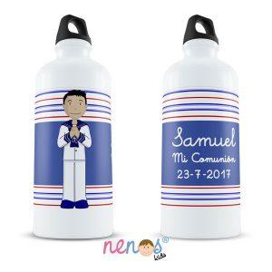 Botella Termo Personalizada Comunión Niño Fondo Rayas