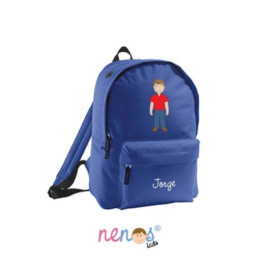 Mochila escolar personalizada hombre fondo azul oscuro