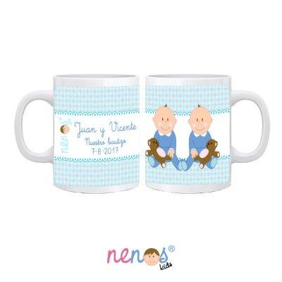 Taza Personalizada Bebés Gemelos Niños