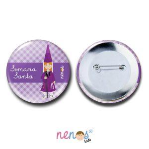 Chapa Imperdible Personalizada Nazarena Lila