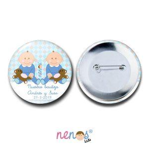 Chapa Imperdible Personalizada Bebés Gemelos
