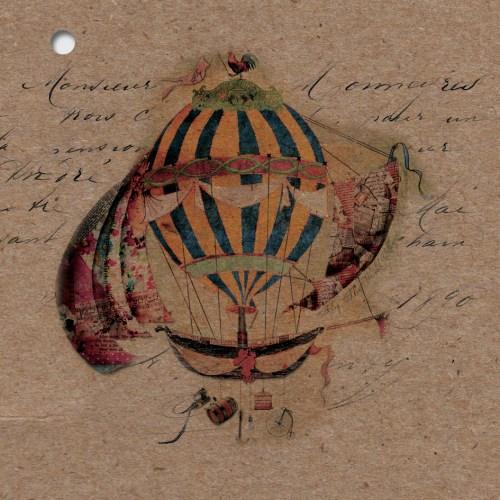 couverture kraft du faire-part naissance theme ballons fly away
