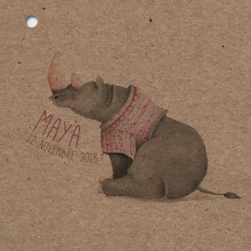 faire-part naissance en papier recyclé thème animaux