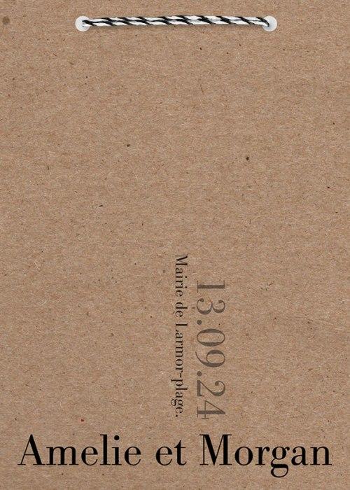 couetrure faire-part mariage kraft minimaliste Orsay K
