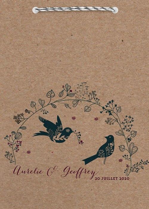 faire-part mariage theme oiseau avec couverture en kraft
