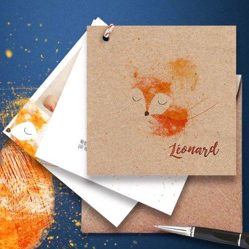 faire-part naissance ecologique en papier kraft sur le theme du renard et animaux de la foret