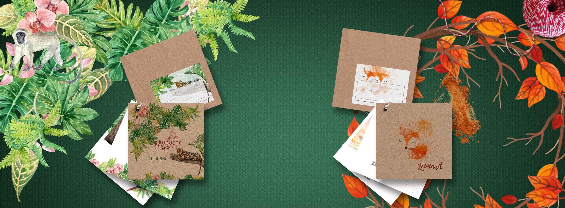 faire-part naissance jungle et leonard en papier kraft