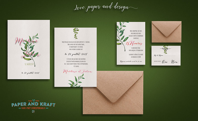 faire part mariage greenery