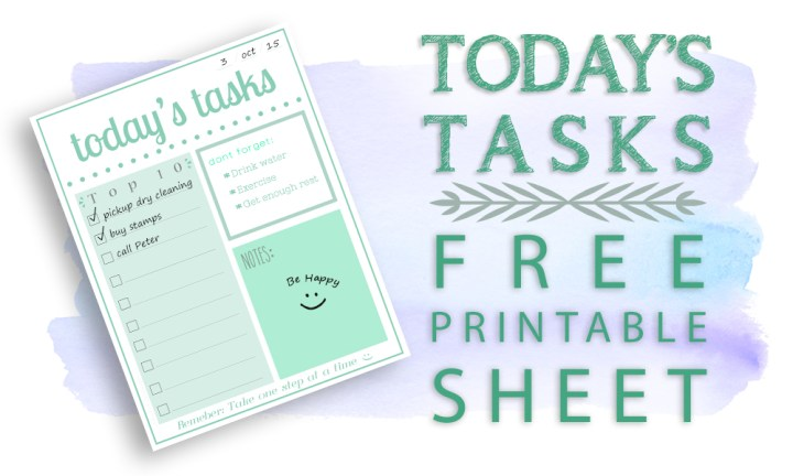 Featured Image - Todays Tasks Printable
