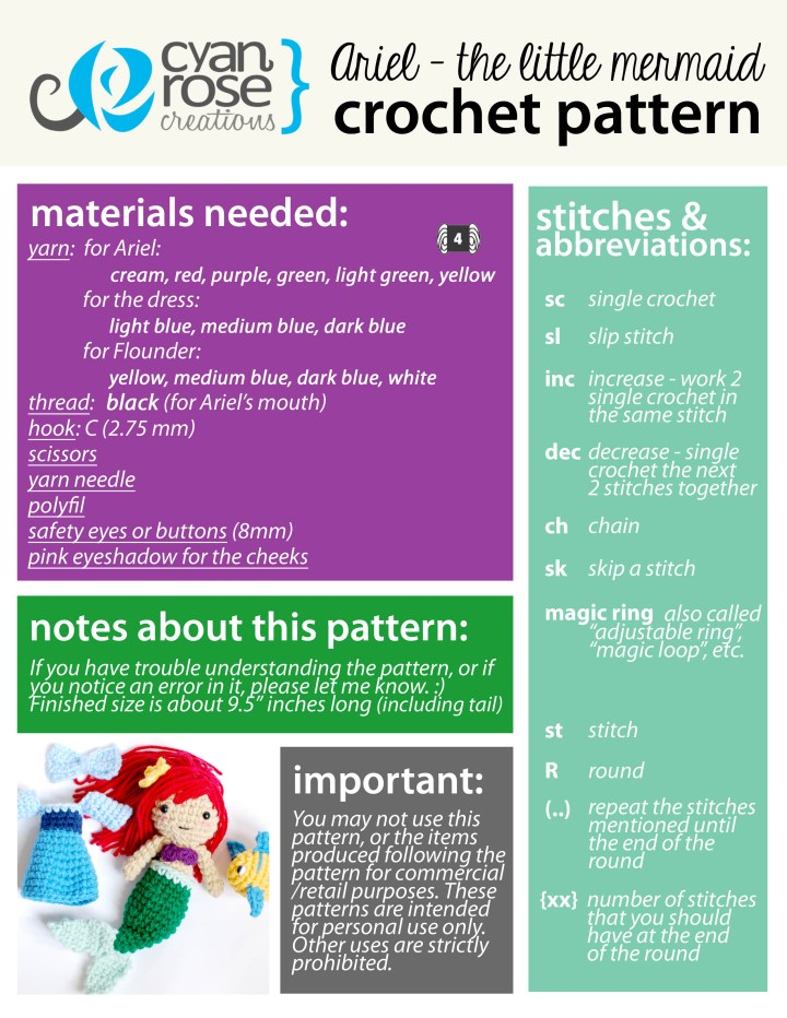Little Mermaid Crochet Pattern - First Page