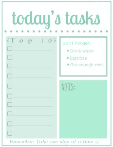 Todays Tasks Printable