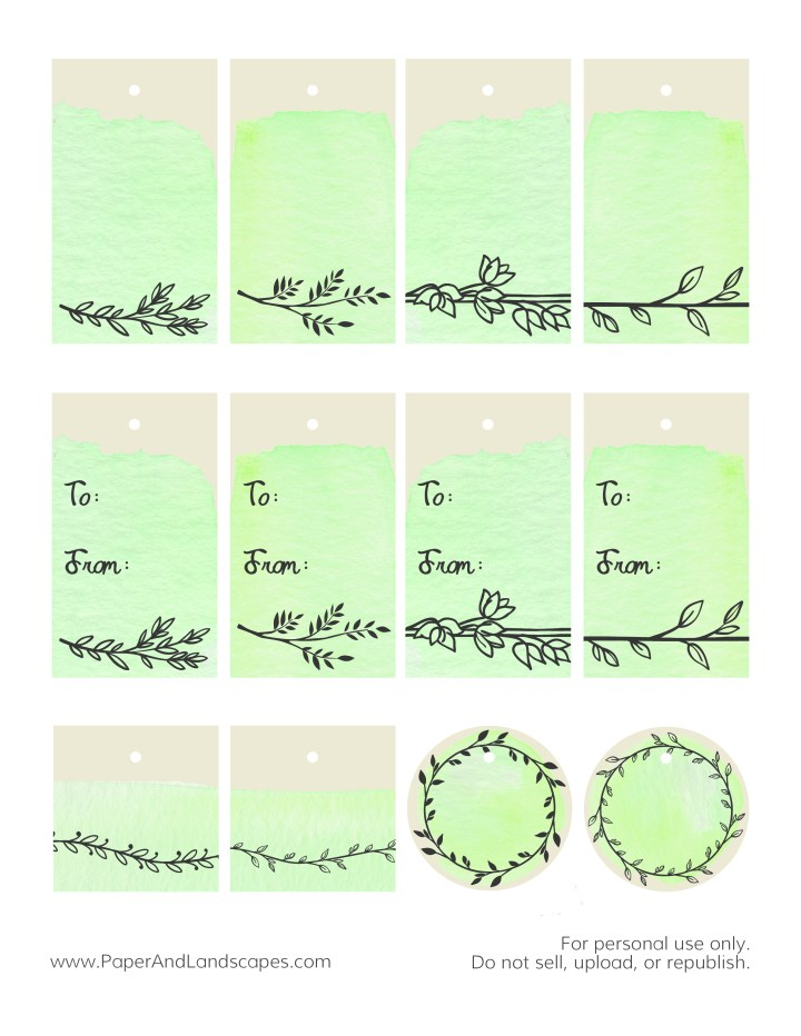 Watercolor Gift Tags -Green- Paper and Landscapes