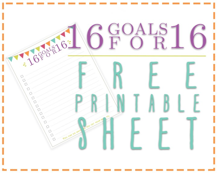 Free Printable Goals Sheet for 2016
