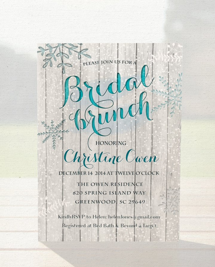 Winter bridal shower invitation