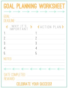 Goal Planning Worksheet - PandL Free Printable