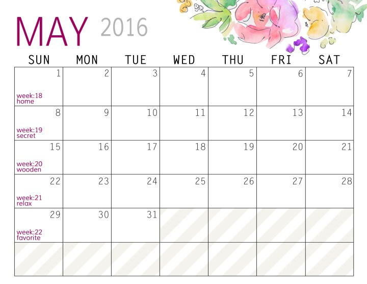 May - Calendars 2016 Landscape - Paper and Landscapes