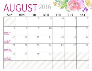 August - Calendars 2016 Landscape - Paper and Landscapes