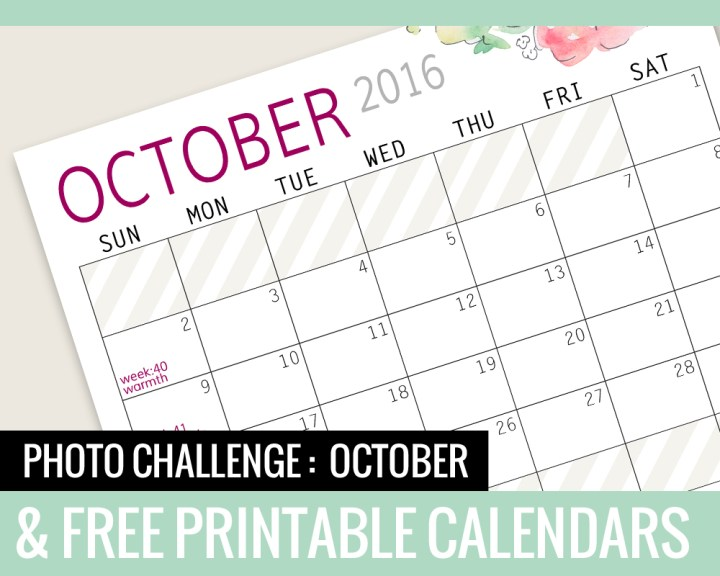 Photo Challenge for OCTOBER and Free Printable Calendars
