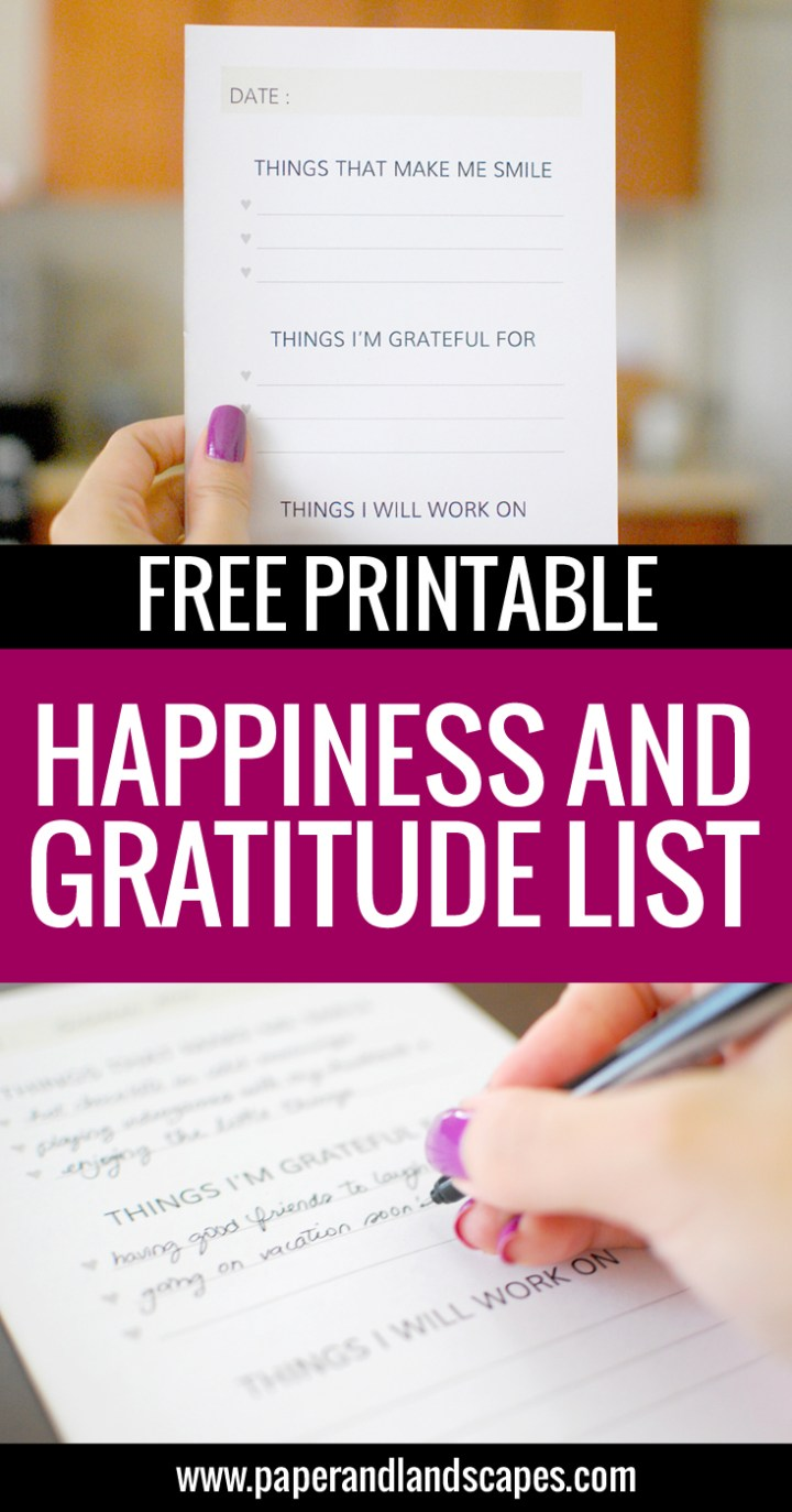 Happiness and Gratitude List - Paper and Landscapes