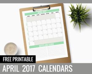 Free Printable Calendars 2017 - April