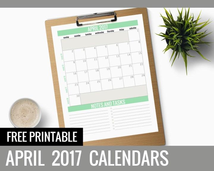 Free Printable Calendars – April 2017