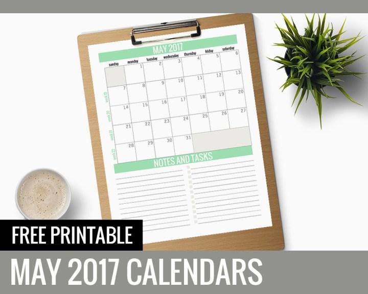 Free Printable Calendars 2017 - May