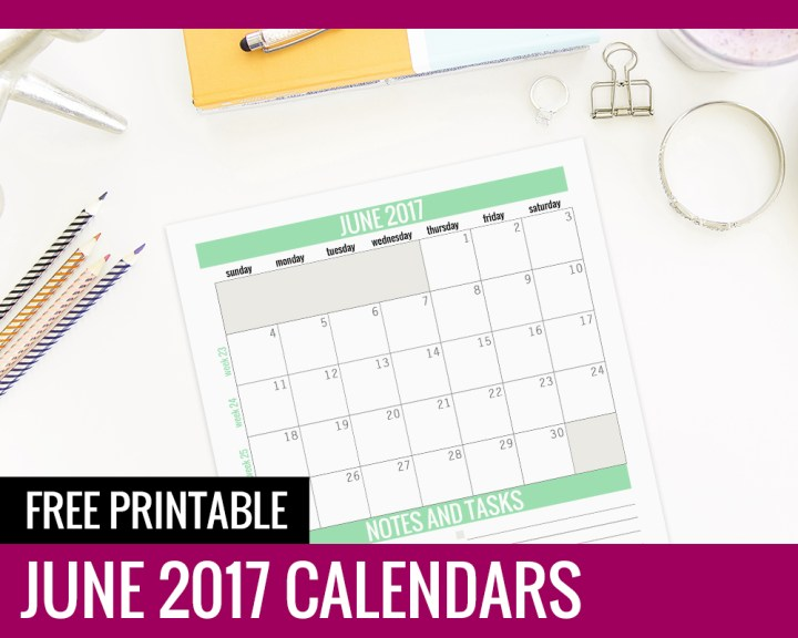 Free Printable Calendars – June 2017