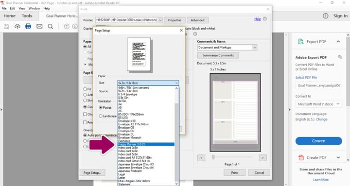 Print a Printable - Select Custom Size