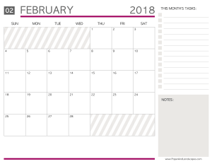 Free Printable Calendars February 2018 - Paper and Landscapes
