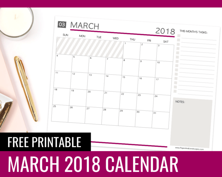 Free Printable Calendar March 2018 Paper And Landscapes