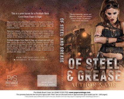 Print Layout for Pre-Made Book Cover ID#0131201702 (Of Steel & Grease)