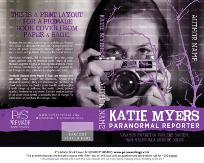 Print layout for Pre-Made Book Cover ID#0331201402 (Katie Myers: Paranormal Reporter)