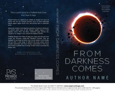 Print Layout for Pre-Made Book Cover ID#171106TA01 (From Darkness Comes)