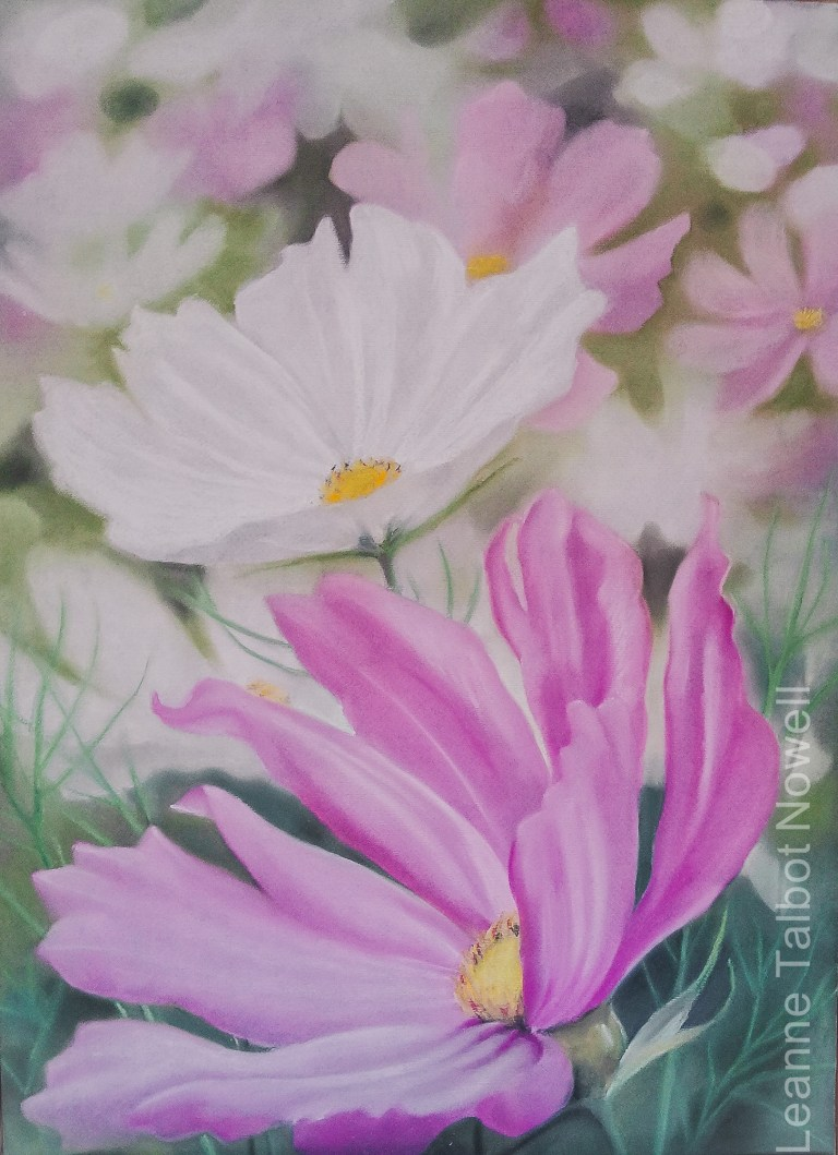 Cosmos flowers pastel painting
