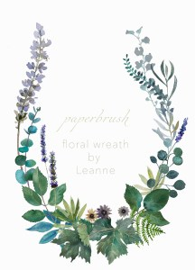Delicate wreath garland floral leaves by Leanne Talbot Nowell