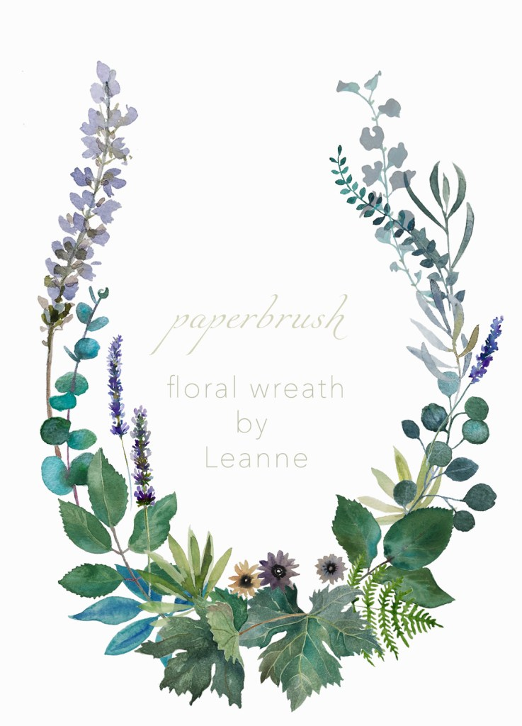 Wreath floral leaves by Leanne Talbot Nowell