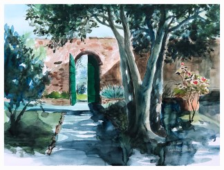SECRET GARDEN Print 3 - Tuscany series, inside the secret garden by Leanne Talbot Nowell