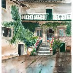 Tuscany villa Print 1 - Santa Chiara di Prumiano painting by Leanne Talbot Nowell