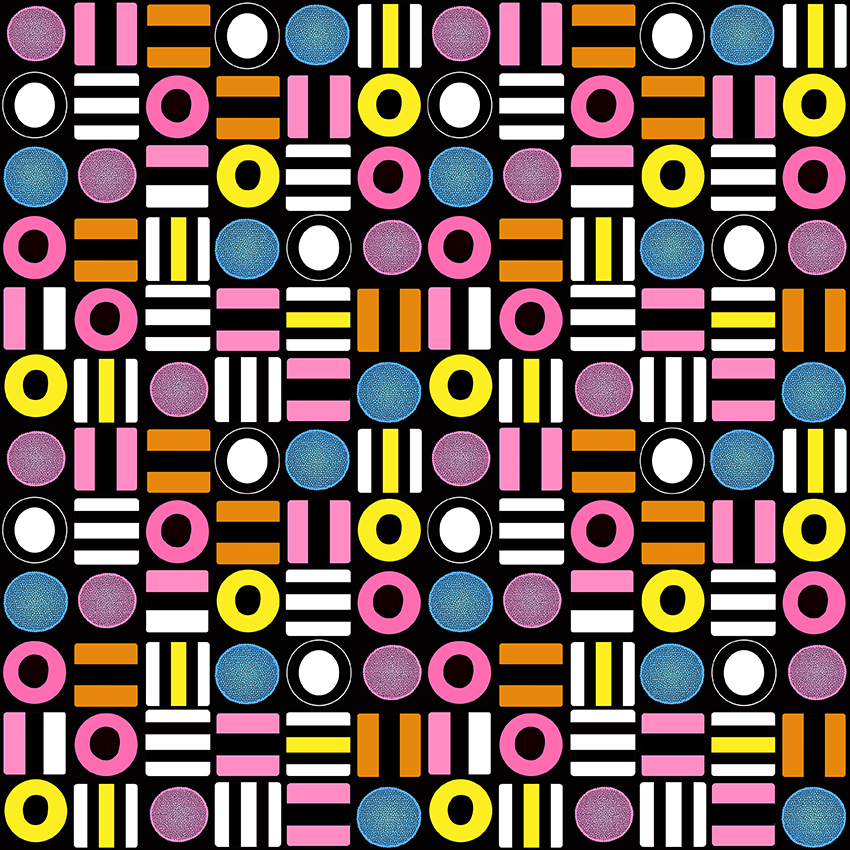 Liquorice All Sorts geometric design on black by Leanne Talbot Nowell