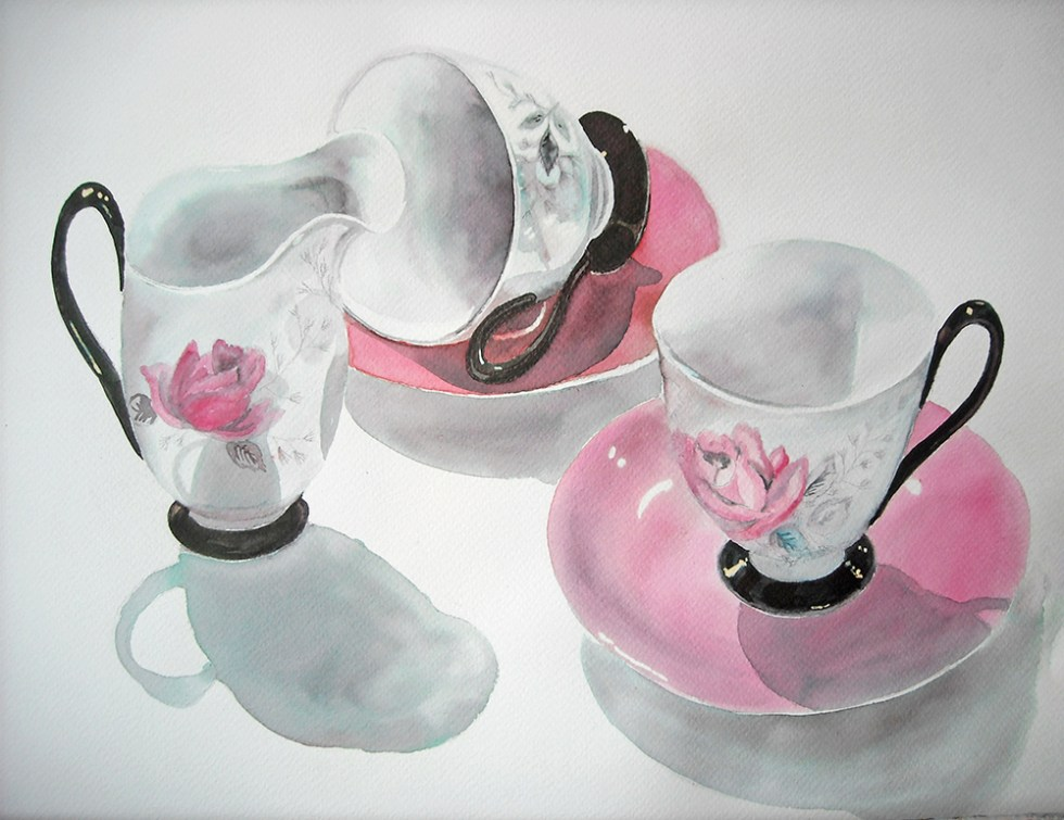 watercolor coffee cups pink by Leanne Talbot