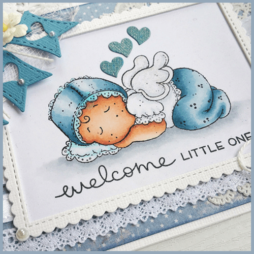 An adorable Baby Boy Card - Papercraft Business. Copic Marker Combo: Skin: E000, E00, E04, E11, E21 & R20 / Bonnet & Pants: B91, B93, B95, B97 / Top: C0,C1 / Pillow: B000, B00 / Ground: C0, C1, C3. Download the FREE Project Guide so you can create the card too!