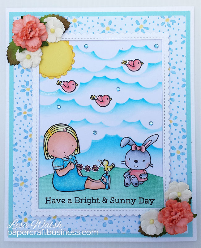 Bright Sunny Day Card featuring MFT Happy Together stamp set & video tutorial. Create this card for someone who needs a bright & sunny day - Visit the blog post to see the tutorial. Designed by Lisa Walsh @ Papercraft Business #mftstamps #myfavoritethingsstamps #mfthappytogether #sunshinecard #papercraftbusiness