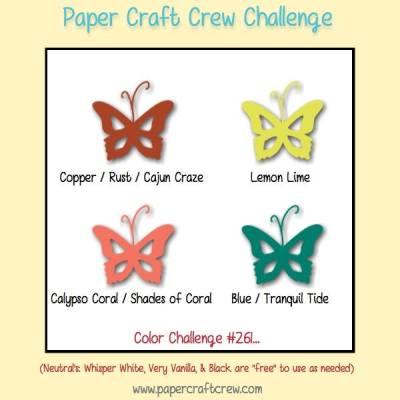 Play along with the Paper Craft Crew for Color Challenge 261. The challenge starts September 27th and ends October 3, 2017 at 1 PM EST. Visit the blog at www.papercraftcrew.com to check out the design team samples and to submit your project.  #papercraftcrew #papercrafting #colorchallenge #color #playalong #imakecards #cardmaker #diy #sendacard #craft #stampinup #cardchallenge #papercraft #bigshot #rainydayfun  #designteam #becreative #artsandcrafts #hobby #snailmail #createeveryday #crafttherapy #creativelifehappylife