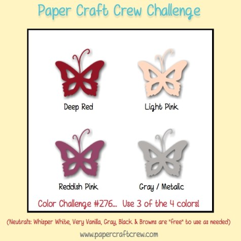 Play along with the Paper Craft Crew for Color Challenge 276. The challenge starts January 17 and ends January 23, 2018 at 1 PM EST.   Visit  www.papercraftcrew.com to check out the design team samples and to submit your project.  #papercraftcrew #papercrafting #colorchallenge #color #playalong #imakecards #cardmaker #diy #sendacard #craft #stampinup #cardchallenge #papercraft #bigshot #rainydayfun  #designteam #becreative #artsandcrafts #hobby #snailmail #createeveryday #crafttherapy #creativelifehappylife #pcc2018