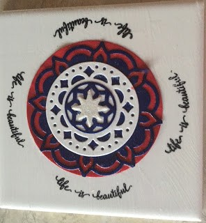 Stampin Up Eastern Medallions Thinlits make great coaster in red, white and blue. See how at PaperCraftsbyElaine,com